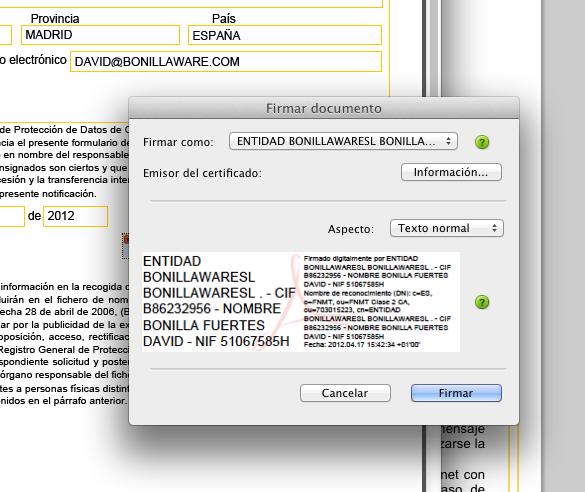 Firma Digital de presentación de fichero para la LOPD