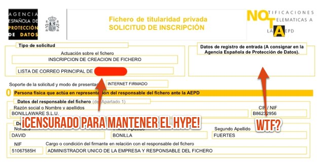 Solicitud de inscripción de fichero para la LOPD