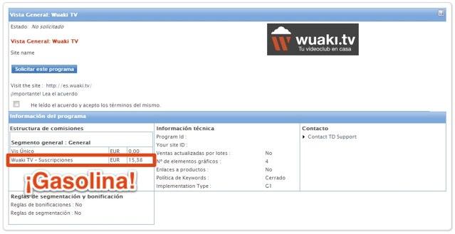 Pago por registro de usuarios nuevos en Wuaki.tv
